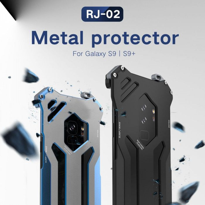 R-Just Ultra Thin Cool Aluminum Alloy Shock Proof Metal Shell With Hook Design For Samsung Galaxy S9 Plus / S9