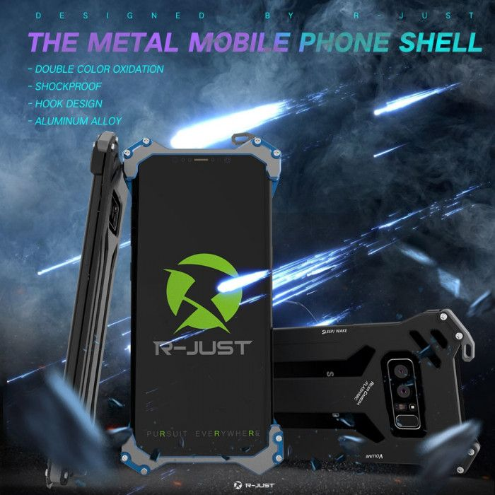 R-Just Ultra Thin Cool Aluminum Alloy Shock Proof Metal Shell With Hook Design For Samsung Note 8