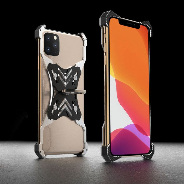R-Just Ultra Thin Cool Aluminum Alloy Shock Proof Metal Shell With Ring Buckles For iPhone 11 / iPhone 11 Pro / iPhone 11 Pro Max