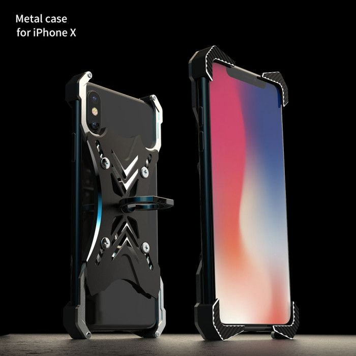 R-Just Ultra Thin Cool Aluminum Alloy Shock Proof Metal Shell With Ring Buckles For iPhone X