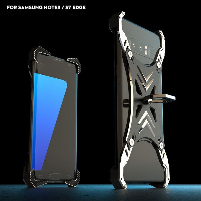 R-Just Ultra Thin Cool Aluminum Alloy Shock Proof Metal Shell With Ring Buckles For Samsung S7 Edge/Note 8