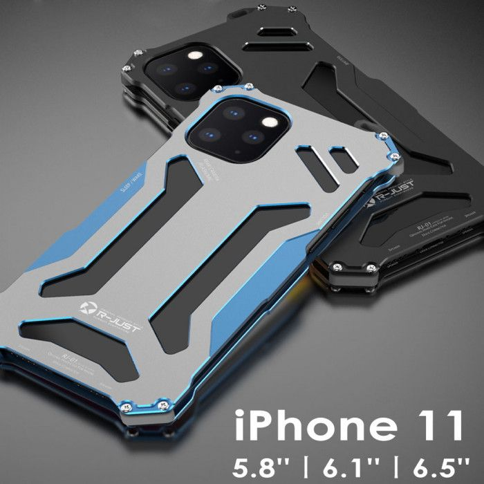 R-Just Ultra Thin Cool Shockproof Metal Shell With Hook Design For iPhone 11 5.8 iPhone 11 6.1 iPhone 11 6.5