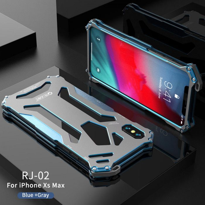 R-Just Ultra Thin Cool Shockproof Metal Shell With Hook Design For iPhone XR/Xs/Xs Max