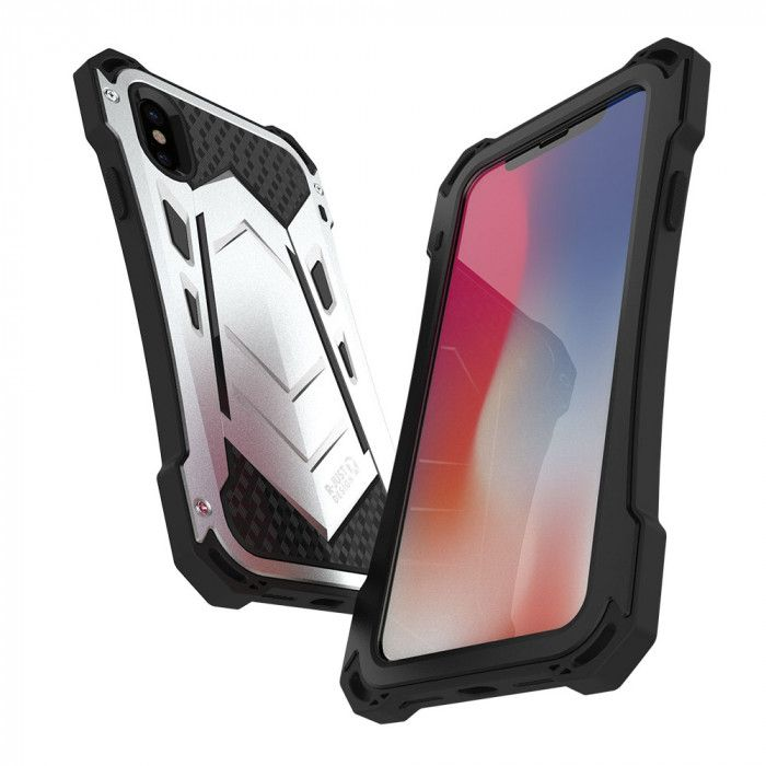R-Just Water Proof & Shock Proof Powerful Metal & Silicone Protective Case For iPhone X