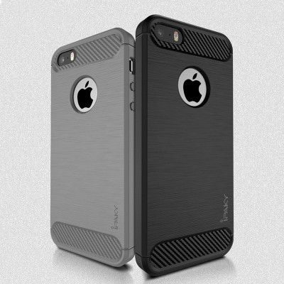 IPAKY Carbon Fiber Decorated Brushed Grain Ultra Thin TPU Full Surround Back Cover Case For iPhone SE/5S/5