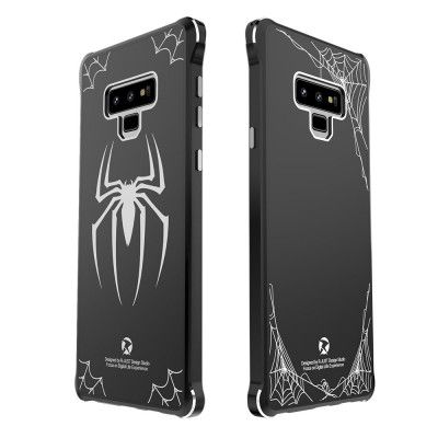 Creative Design Full Protection Metal Bumper+Acrylic Back Cover Case For Samsung GALAXY Note 9