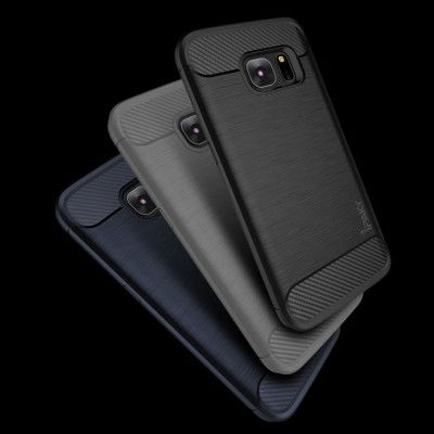 IPAKY Carbon Fiber Decorated Brushed Grain Ultra Thin TPU Full Surround Back Cover Case For Samsung Galaxy S7 Edge / S7