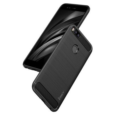 IPAKY Carbon Fiber Decorated Brushed Grain Ultra Thin TPU Full Surround Back Cover Case For Xiaomi Mi 5X