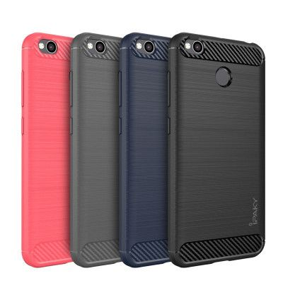 IPAKY Carbon Fiber Decorated Brushed Grain Ultra Thin TPU Full Surround Back Cover Case For Xiaomi Redmi 4X