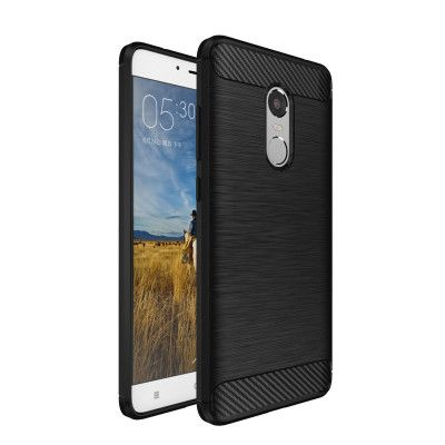 IPAKY Carbon Fiber Decorated Brushed Grain Ultra Thin TPU Full Surround Back Cover Case For Xiaomi Redmi Note 4