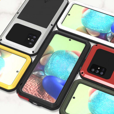 Love Mei Dust Proof Shock Proof Metal Powerful Protective Case For Samsung GALAXY A71 5G