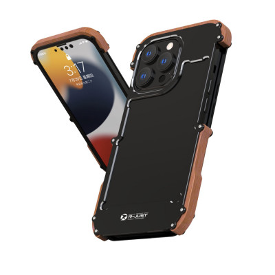 R-Just 1st Generation Metal & Wood Shockproof Bumper Protective Case For iPhone 13