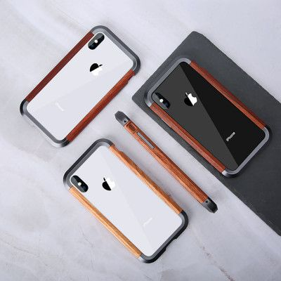 R-Just 2ND Generation Metal & Wood Shockproof Bumper Protective Case For iPhone X/XS/XS Max