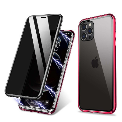 R-Just Anti-Peep Gradual Change Style Toughened Glass Magnetic Adsorption Metal Frame For iPhone 12 Series
