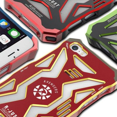 R-JUST Avengers Hero Series Aluminium Metal Shockproof Back Cover Case For iPhone 5/SE/5S