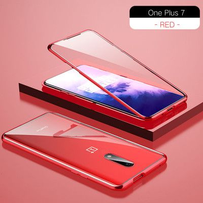 R-Just Double Sided High Definition Toughened Glass Magnetic Adsorption Metal Frame For OnePlus 7