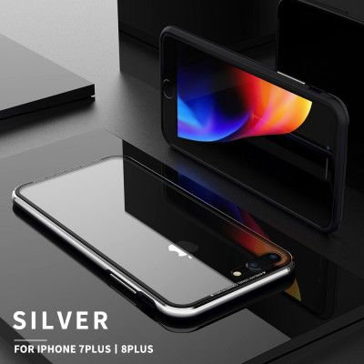 R-Just Hermit Series Shockproof Metal Bumper+Tempered Glass Back Cover Case For iPhone 7/8/7 Plus/8 Plus