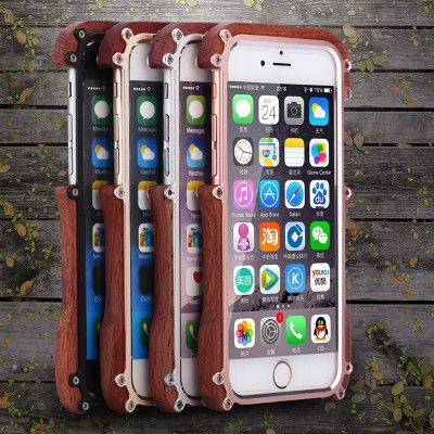 R-Just Ironman Series Metal & Wood Shockproof Bumper Protective Case For iPhone 6/6s/Plus