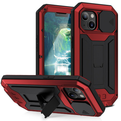 R-Just Slide Cover Camera Protection & Invisible Kickstand Shockproof Dustproof Protective Case For iPhone 13 Mini iPhone 13