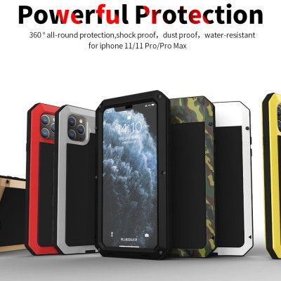 R-Just Water Proof & Shock Proof Powerful Metal & Silicone Protective Case For iPhone 11 Pro Max/11 Pro/11