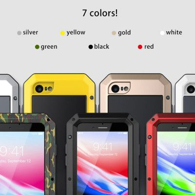 R-Just Water Proof & Shock Proof Powerful Metal & Silicone Protective Case For iPhone 6/7/8 Series