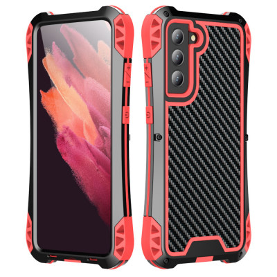 R-Just AMIRA Series Dirt Proof & Shock Proof Powerful Metal & Silicone Protective Case For Samsung S21 Fe