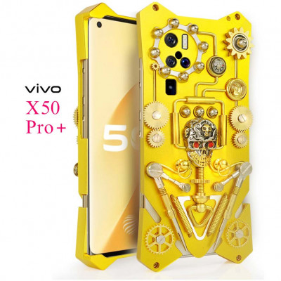 Simon Gothic Steampunk Mechanical Gear Metal Case For VIVO X50 Pro+