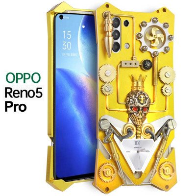 Simon Gothic Steampunk Mechanical Gear Metal Case For OPPO Reno5/Reno5 Pro