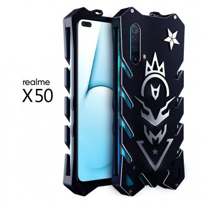 SIMON New Style Cool Aluminum Alloy Metal Frame Bumper Cover Case For Realme X50/X50 Pro